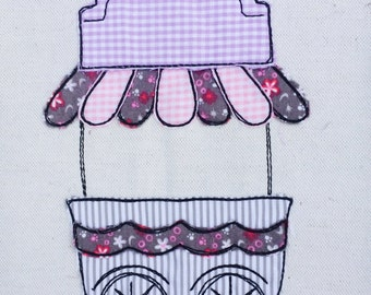 Ice cream truck Doodle embroidery file