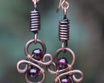 Copper Garnet Earrings, January Birthstone Earrings, Copper Wire Earrings, Garnet Jewelry, Copper Wirework Earrings