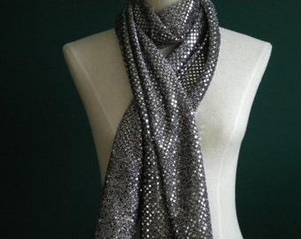 Long Silver/Black Fashion Scarf (Standard & Infinity)