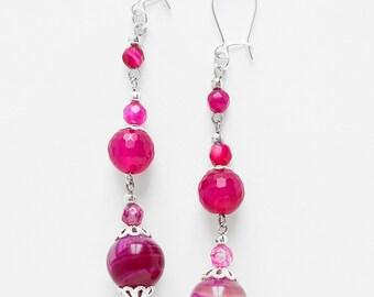Earrings Fuschia Agate