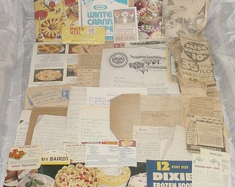 Vintage RECIPES Lot Collection w Some Handwritten,Newspaper & Food,Product Label Clippings,WW2 Era Gebhardts Ad CookBook,Old Paper Ephemera