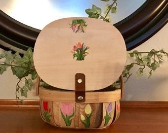 Tulip Design on wood basket
