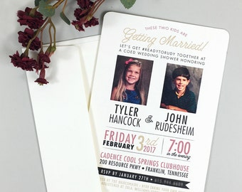 5x7 Coed Wedding Shower Invitation / These two kids are getting married! / 5x7 Wedding Shower Invitation with A7 Envelopes
