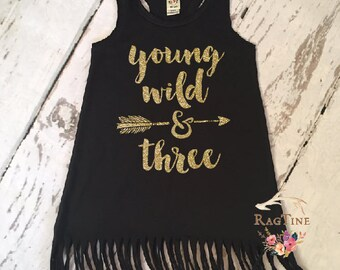 Young Wild and Three Fringe Dress | Girl's 3rd Birthday Fringe Dress | Girls Birthday Dress | Third Birthday Fringe Dress | Wild and Three