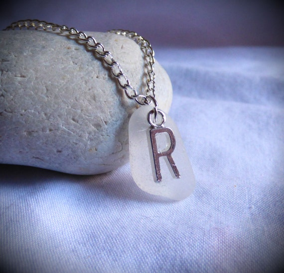 Initial R, Sea Glass Pendant, Silver Plated Letter, Initial Pendant, Sea Glass Necklace, Customised Pendant, Customized - PC17002