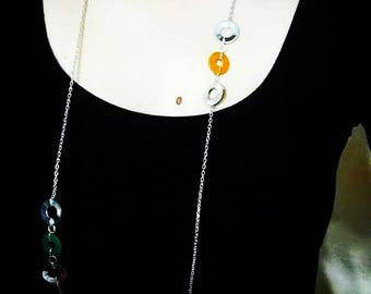 multicolored necklace long chain