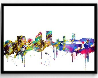 Jacksonville Skyline, Travel, City Skyline, Poster, Home Decoration, Watercolor Room Decor, gift, print, wall art (820)
