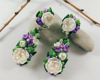 Peony flowers Peony jewelry Long studs Purple earrings Nature jewelry Statement earrings Botanical earrings Elegant earrings Spring earrings