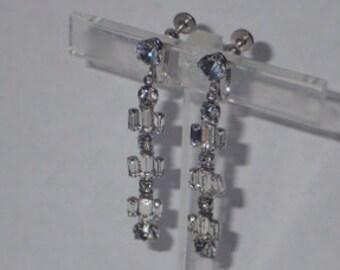 1950's Clear Rhinestone Baguette Drop Earrings