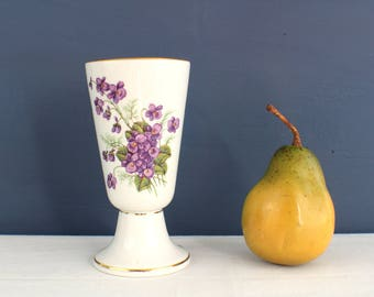 CNP France Porcelain Goblet or Small Vase in Tradition Pattern with Violets