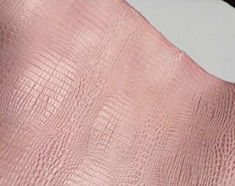 Leather Panel Alligator Embossed Pink