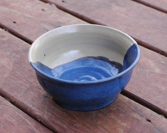 Ceramic Bowl Covered in Floating Blue Glaze Stoneware Clay Bowl
