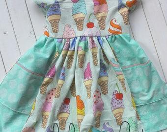 Ice Cream Summer Dress, Girls Dress, Toddler Dress, Summer Dress with Pockets, Spring Dress, Birthday Dress, Party Dress, Ice Cream Party