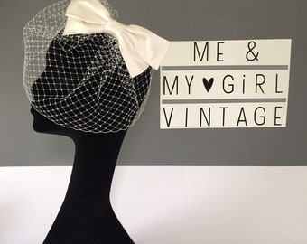 Bow Birdcage Veil, Bow Veil, Birdcage Veil, Birdcage Bow, Wedding Birdcage, Wedding Veil, Fascinator With Bow, Wedding Hair Bow, Veil Bow