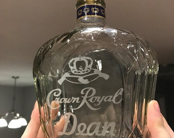 Custom Engraved Crown Royal Etched Whisky Whiskey Bottle Gift Personalized Gift Merchandise