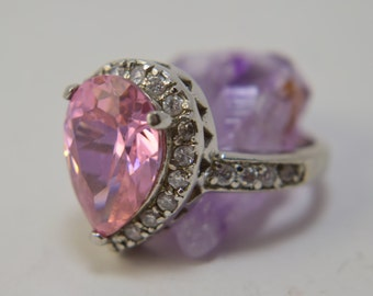 Genuine Pink Sapphire Ring, Pink Sapphire Sterling Silver Rings, Cubic Zirconia, Pink Sapphire Engagement Rings, Cubic Zirconia Rings