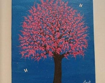 Blossom Tree Painting Pink Blue Original Art Butterfly Papillon Baby Shower Gift Cute Nursery Small Canvas Decor Kids Play Room Wall Decor