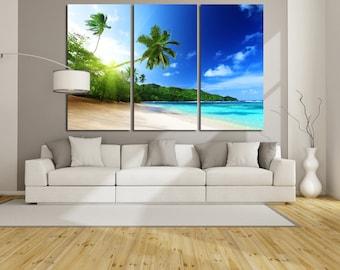 Large Wall Palm Trees Canvas Color Seaside Multipanel Canvas Sun Island  Art Large Ocean 1-3-4-5 Panels Palms Wall Art