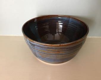 Brown and Blue Ridged Ceramic Bowl