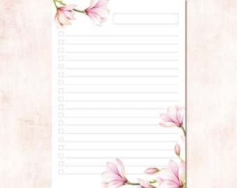 Floral to Do List Magnolia Collection Watercolor A4 and A5 Planner Template Instant Download Printable