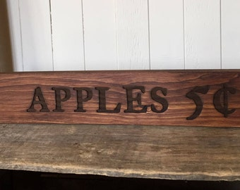 Apples 5cents, Rustic Wooden Sign, Farmhouse Home Decor, Laser Engraved