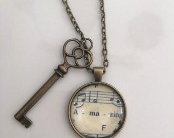 Antique Bronze Amazing Grace Inspirational Necklace