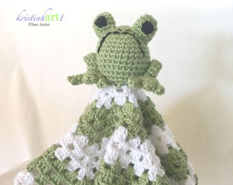 Baby Frog Lovie / Handmade Crochet / Cuddly / Soft / Mini Blanket / Green / White / Toy / Stuffed Animal