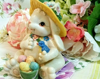 K's Collection Vintage Easter Bunny Figurine with Basket of Easter Eggs, Yellow Hat, Holding a Blue Bird Home Decor