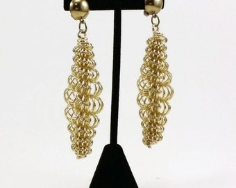 Multi Chain Gold tone Dangle Clip On Show Stoppers Earrings 1980s Vintage