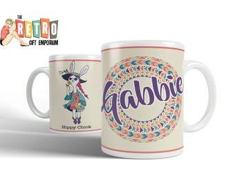 Hippy Chick, custom coffee mug, Mandalas, Groovy Rabbit, Boho style, unique gift, Glastonbury, Festival Gift