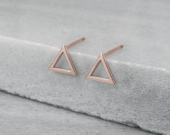 Triangle Earrings, 14K Gold Earrings, Rose Gold, Gold Stud Earrings, Triangle Studs, Minimalist Jewelry, Dainty Earrings, Geometric Earrings