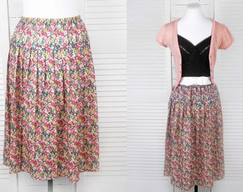 VINTAGE 80s Floral Printed Midi Pleated Skirt