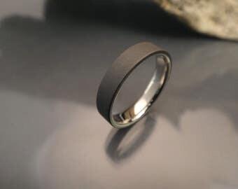 Handcrafted titanium ring, titanium wedding ring with a sandblasted and darkened finish, unique wedding band