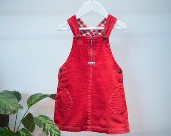 Kid's Vintage Red Cord Dungaree Dress
