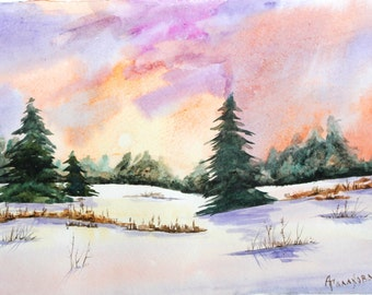 "ORIGINAL Watercolor painting, watercolor landscape painting, Original art, Winter landscape, Watercolor original painting, 10 1/2""x7"" A4"