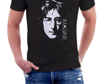 John LENNON CUSTOMIZABLE TITLE - Cotton black T-shirt for man fan of the singer - Tshirt • 011