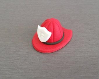 6 x Fireman Helmet Cupcake Toppers, Fireman, Fireman Helmets,  Edible cupcake toppers, Fondant fire toppers
