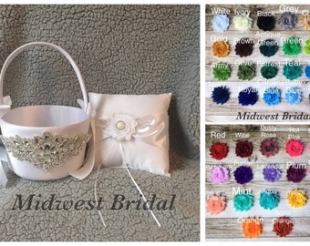You pick colors Large white satin flower girl basket and pillow shabby chic