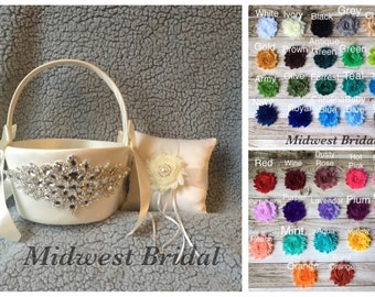You pick colors Large Ivorysatin flower girl basket and pillow shabby chic