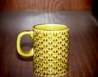 Vintage Olive Green Coffee Mug with Basketweave Texture