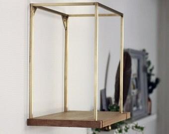 Cage brass shelf wood