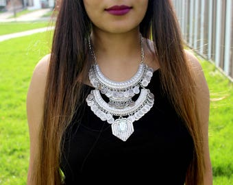 Statement Necklace Coin Necklace Rustic Necklace Edgy Necklace Bohemian Necklace Gypsy Necklace Tribal Necklace Metal Necklace Boho