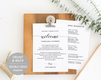 Wedding schedule etsy wedding itinerary card welcome note printable wedding itinerary agenda schedule welcome junglespirit Images