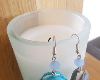 Gourmet macaroons blue and gray - Macaroon earrings blue and grey earrings