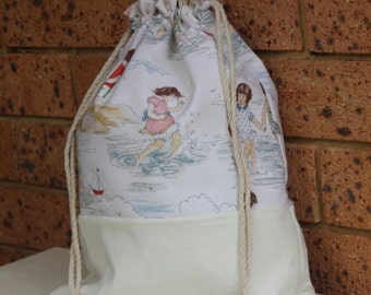 A Day At the Beach, Large Vintage Drawstring Bag