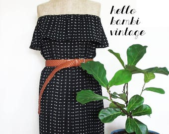 Frilly Off-Shoulder Remade Vintage Dress
