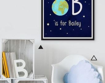 Monogram Print, Boy Nursery Decor, Personalized Baby Name Print, Custom Baby Boy Initial Print, Outer Space Nursery Wall Art Astronaut Print