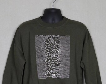 Joy Division shirt, sweatshirt, Unknown Pleasures t-shirt, vintage rare green, New Order, Ian Curtis, 1993 1980s 80s New Wave