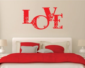 Love Wall Sticker Vinyl Decal Floral/Flower Design For Home Decor UK. *FREE P&P!*
