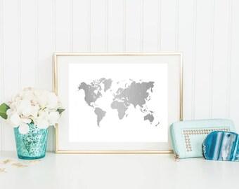 World Map Foil Print (#221) Gold Foil Print
